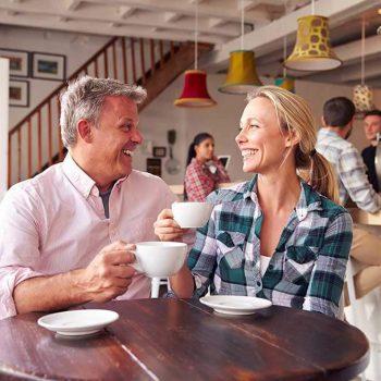 Couple enjoying coffee