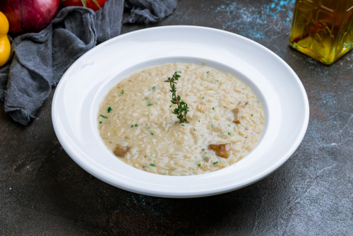 plate of mushroom risotto